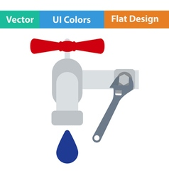 Flat design icon of wrench and faucet vector image