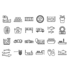 Food fish farm icons set outline style vector