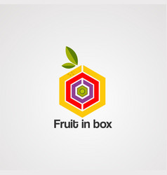 fruit in box logo icon element and template vector image