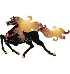 Galloping black horse vector