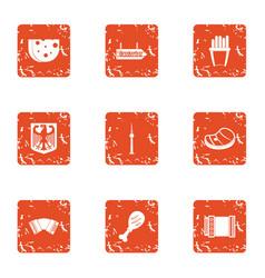 German food icons set grunge style vector
