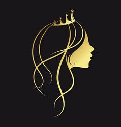 girl with a golden crown vector image