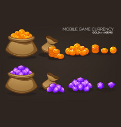 Gold and gems mobile game currency object vector
