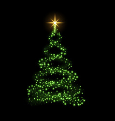 Green christmas tree happy new year background vector