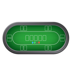 green poker table with colorful casino chips top vector image