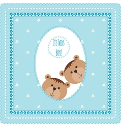 Greeting card with teddy bears and flowers vector image