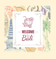 Hand drawn balinese background vector