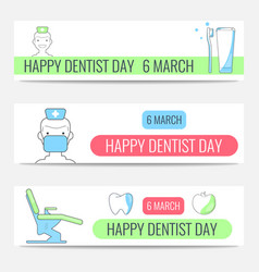 Happy dentist day banners vector