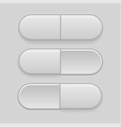 interface buttons gray 3d elements vector image