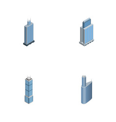 Isometric skyscraper set of urban apartment vector