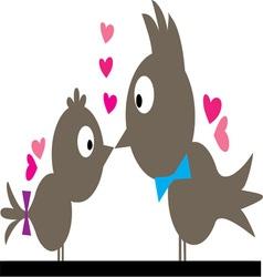 Kissing birds vector