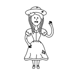 Line pretty woman with hat and dress vector