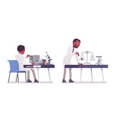 male black scientist measuring vector image