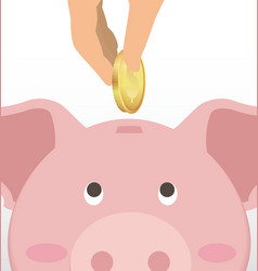 Male Hand Putting Coin Into Cute Piggy Bank vector