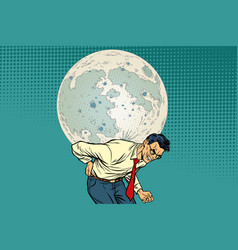 man carries big moon vector image