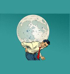 Man carries big moon vector