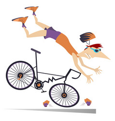 Man falling down from the bicycle isolated vector