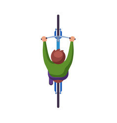 man riding bike view from above cyclist vector image