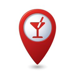 Map pointer with cocktail icon vector image
