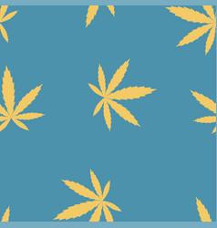 marijuana leaves blue seamless pattern vector image