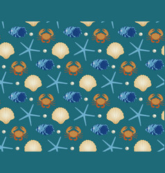Marine seamless pattern cartoon style underwater vector