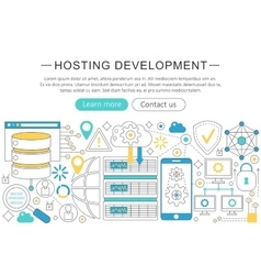 modern line flat design Hosting development vector image