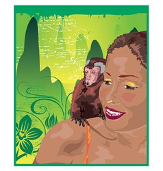 Monkey and woman vector