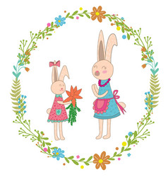 mothers day greeting cardbaby rabbit gives mom vector image