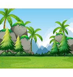 Nature scene with mountains and tree vector image