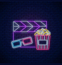 neon sign of cinema night cinema time neon logo vector image