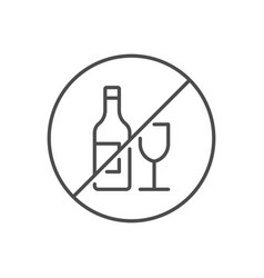 No alcohol sign related thin line icon vector