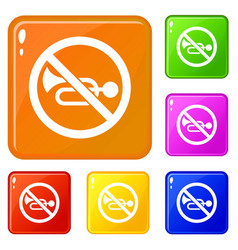 No horn traffic sign icons set color vector