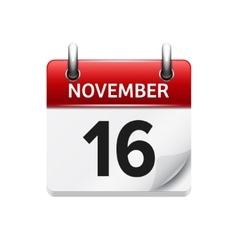 November 16 flat daily calendar icon vector