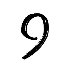 number 9 painted by brush vector image