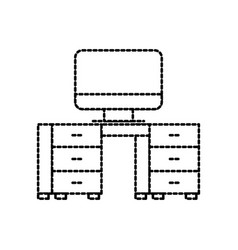 Office desk and computer workspace furniture vector
