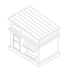 Outline a store building with tilted roof vector