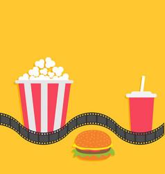 popcorn box soda glass with straw hamburger film vector image