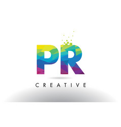 Pr p r colorful letter origami triangles design vector