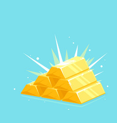 Precious shiny gold bars stacked pyramid vector