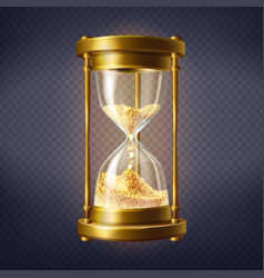 Realistic hourglass with golden sand vector