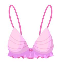 romantic satin pink breast bra on white background vector image
