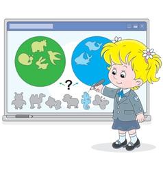 Schoolgirl at the interactive whiteboard vector