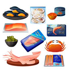 Seafood products sea food fish shrimps and crab vector