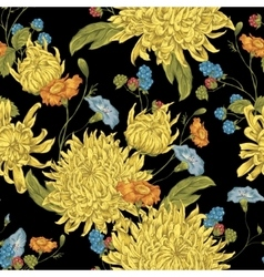 Seamless Background with Chrysanthemums vector image