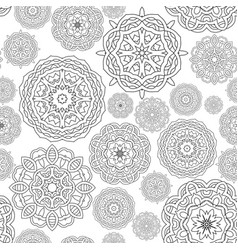 seamless pattern black white round mandalas vector image