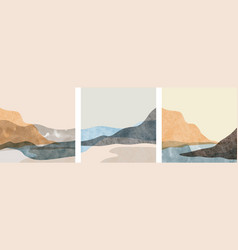 Set abstract mountain landscape oriental vector
