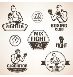 Set fighting club emblems mma boxing labels vector