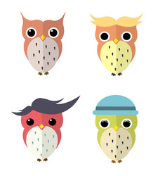 Set of owls cartoon vector
