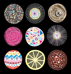 set of patterns different circles vector image