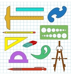 Set of school drawing accessories on cell vector